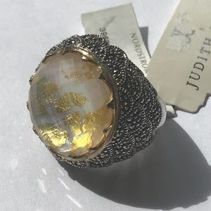 Judith Jack Crystal Gold Leaf 14k Ring